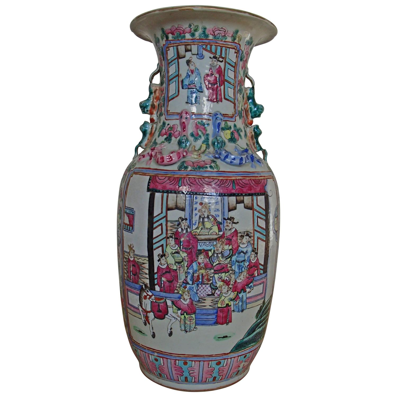 Large scale antique chinese porcelain famille verte lidded vases 19th century chinese famille rose canton porcelain vase floridaeventfo Choice Image