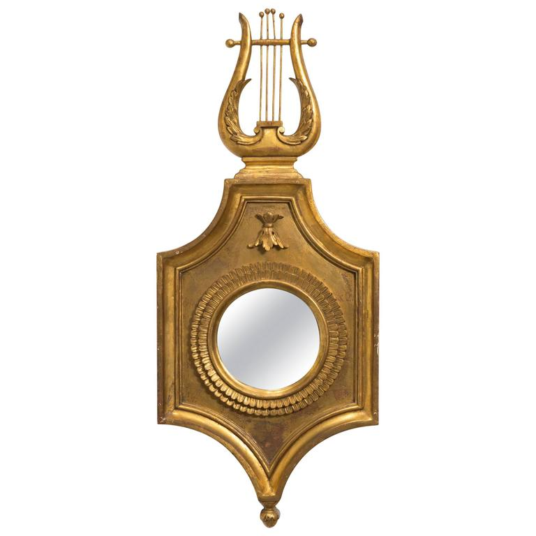 Italian Gilt Wood Lyre Mirror