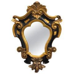 1930s Carved Wood Rococo Style  Mirror