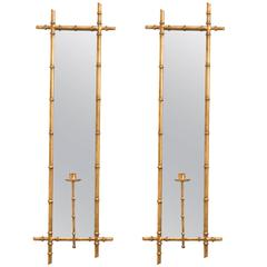 Pair of Gilt Metal Faux Bamboo Mirrored Candle Sconces