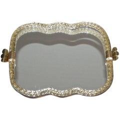 Large Murano Venetian Twisted Glass Rope Mirrored Vanity Tray