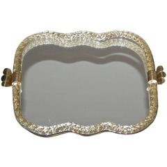 Large Murano Venetian Twisted Glass Rope Mirrored Vanity Tray