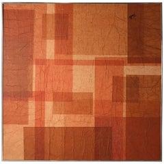 Abstract Geometric Mid-Century Orange Painting