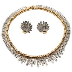 Marcel Boucher Crystal Rhinestone Deco Style Collar Necklace and Earrings Set