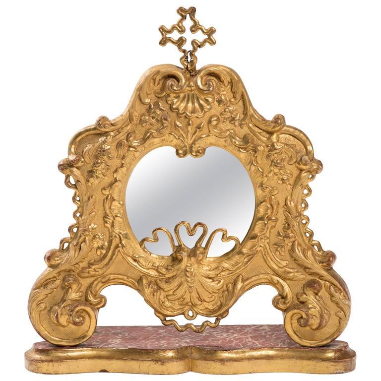 19th Century Giltwood Italian Vanity Mirror