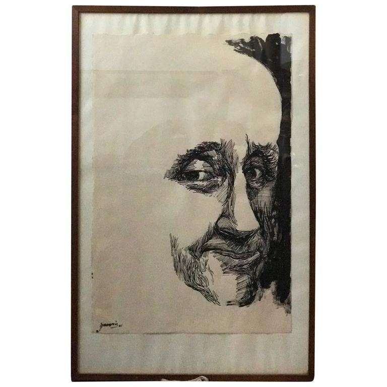 Ink Woodcut Portrait by Antonio Frasconi