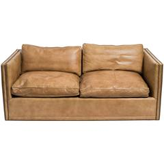 Leather Nailhead Cube Settee