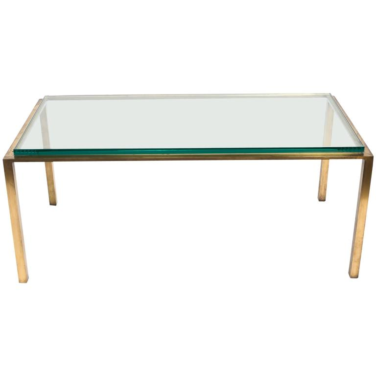 Solid Brass And Thick Glass Top Cocktail Table For Sale At 1stdibs