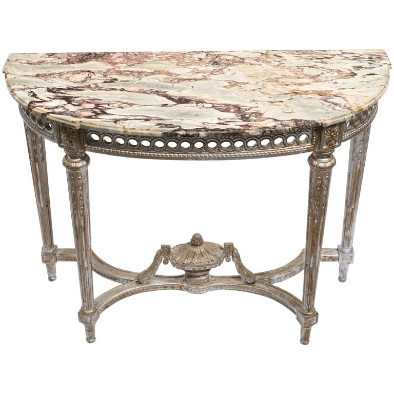 1940s French Marble-Top Console