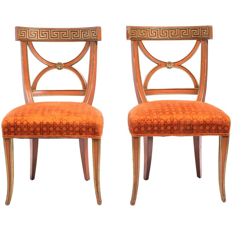 Pair of Painted Greek Key Side Chairs