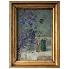Oil Painting by Gerda Wegener, Still Life of Blue Flowers, 1907