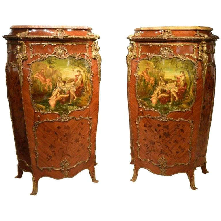 Pair of Mahogany Ormolu-Mounted French Serpentine Cabinets with Vernis Martin For Sale