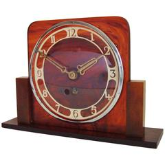 German Art Deco Tortoiseshell Bakelite and Lucite Mechanical Mantel Clock