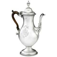 HESTER BATEMAN. George III Coffee Pot made in London in 1780 by Hester Bateman.