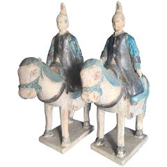Ancient Imperial China Ming Pair Scarce Blue Female Equestrian Horse Riders,1500