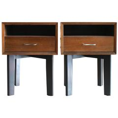 Early Walnut Bedside Tables by George Nelson for Herman Miller