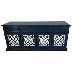 Chinese Chippendale Fretwork Credenza Sideboard Buffet Newly Lacquered Mirrored