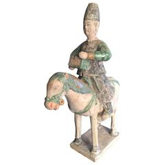 Important Ancient China Glazed Horse Rider with TREASURE BOX  Ming Dyn 1368-1644