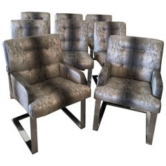Paul Evans Set of Eight Dining Chairs Arm Side Chrome Cantilever