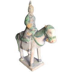 Ancient China Hand Glazed Female Equestrian Horse Rider Ming Dynasty, 1500