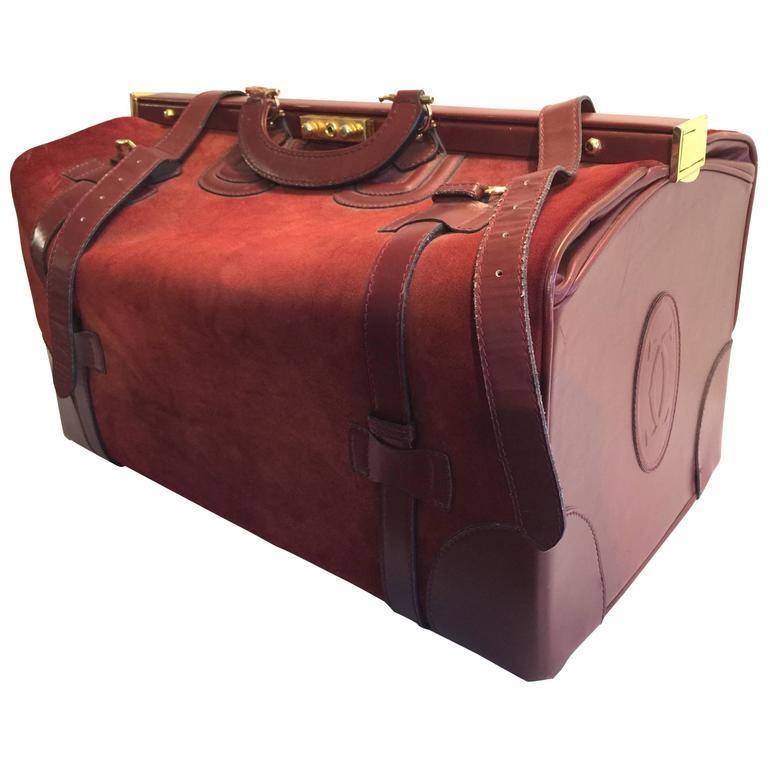 Authentic Cartier Must De Vintage Suede Leather Bordeaux Luggage Ballet