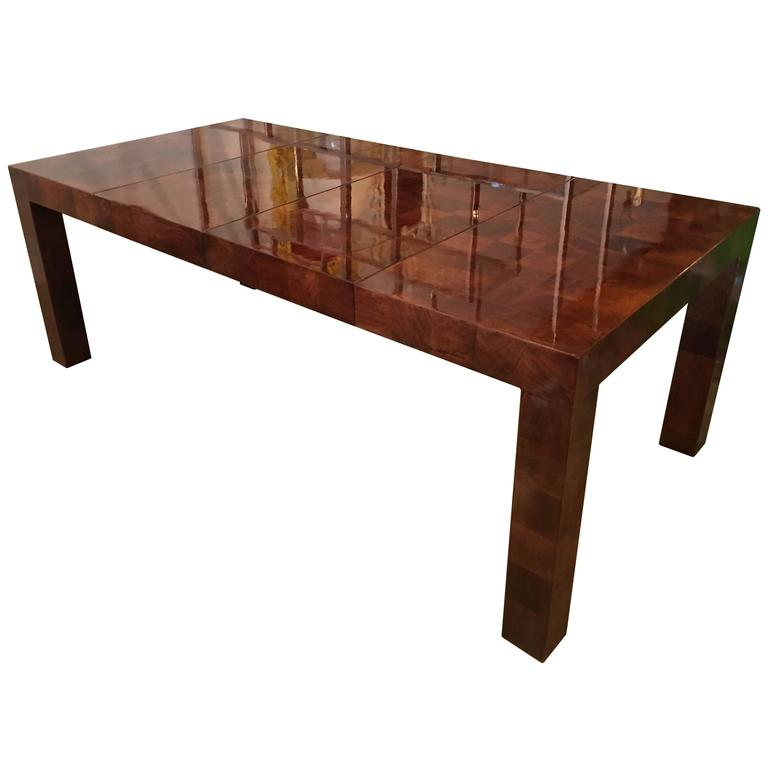 Milo Baughman Patchwork Dining Table Newly Restored Burl Wood Parsons Two Leaves
