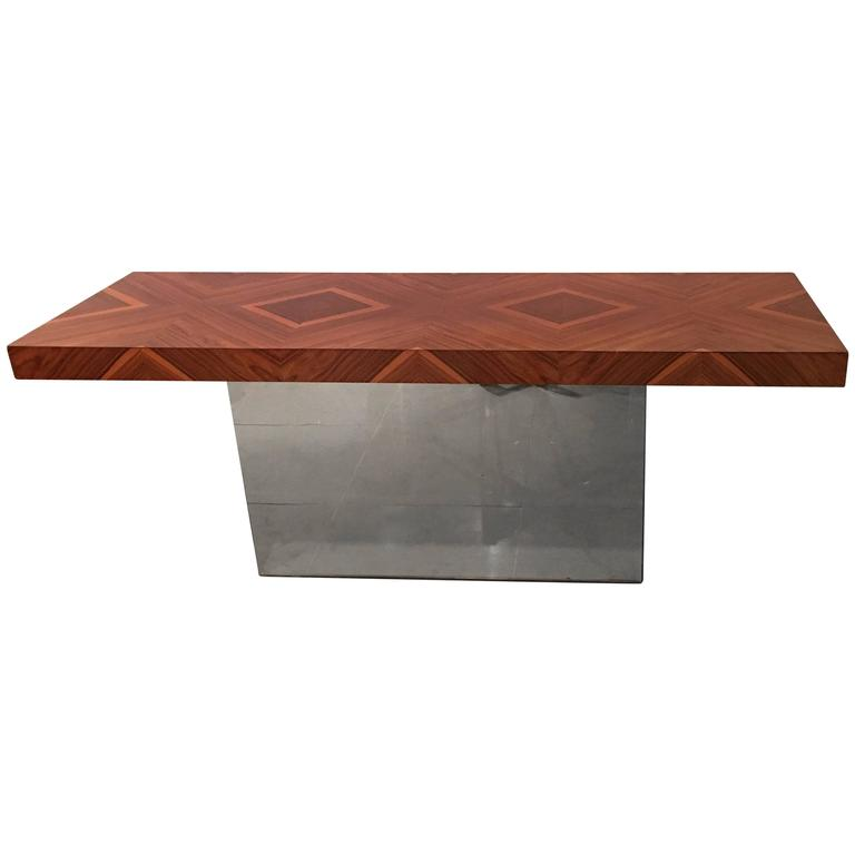 Milo Baughman Console Table Chrome and Rosewood Diamond Pattern Vintage
