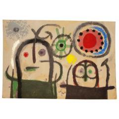 Miro, Pochoir, Femmes En Priere Devant Le Soleil, 1965
