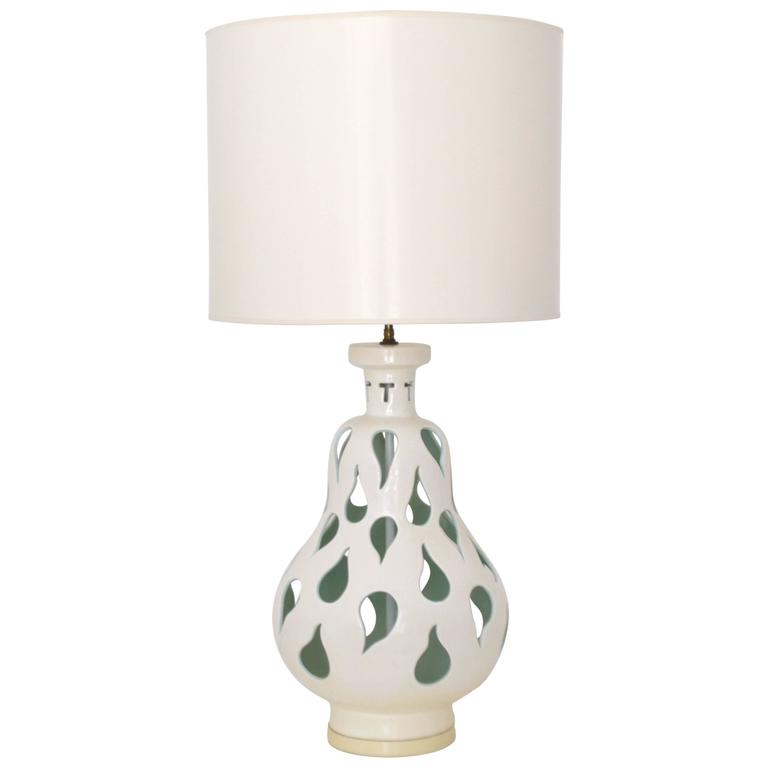 Mid-Century Blanc De Chine Crackle Glazed Table Lamp