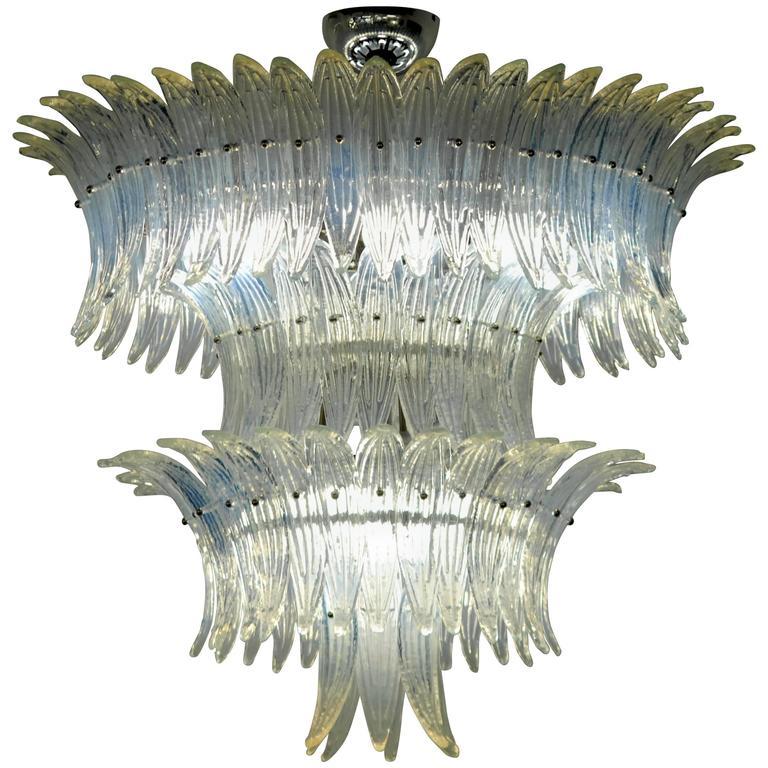 Large Palmette Opaline Murano Chandelier Four Tiers In