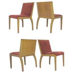 Set of Four Panel Back Dining Chairs by Edward Wormley for Dunbar
