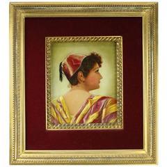 Antique Oil on Canvas Painting of Moorish Maiden Gilt and Velvet Frame