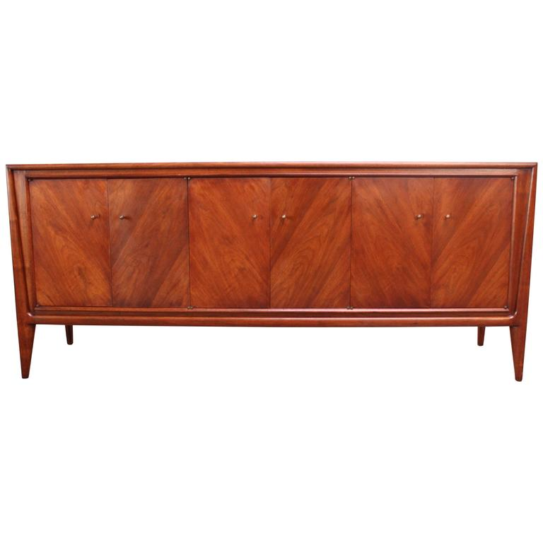 John Stuart Bookmatched Walnut Credenza For Sale