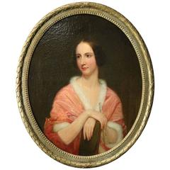Lg Antique Continental School Oil on Canvas Portrait Painting of Baroness