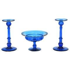 "Steuben ""Celeste Blue"" Cut Crystal Centerpiece Set Candlesticks & Bowl"