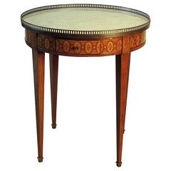 French Louis XVI Style Bouilotte or Gueridon with Marble, Inlay and Brass