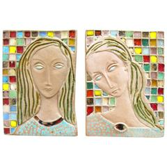 Pair of Italian Woman Portraits Mid-Century Modern Ceramic Plaques
