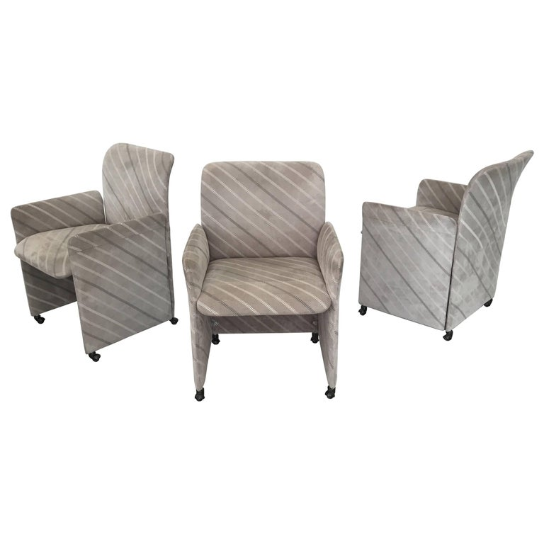 Three Suede Dining Chairs by Saporiti For Sale