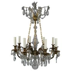 Neoclassical Style French Bronze and Crystal Eight-Arm Chandelier