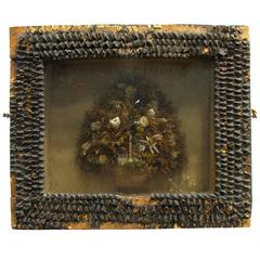 Antique Victorian Dried Flower Basket Diorama