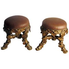 Pair of Italian Giltwood Grotto Stools Upholstered in Leather, circa 1870