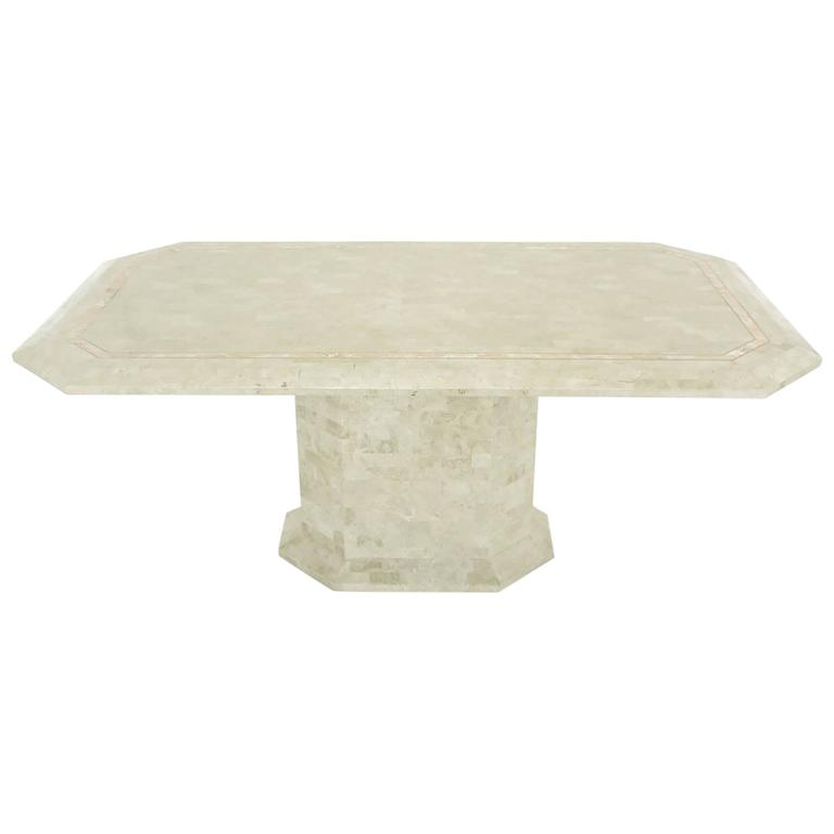 Robert Marcius Tessellated Fossil Stone and Rouge Marble Pedestal Dining Table For Sale