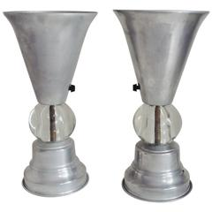 Pair of American Art Deco/Machine Age Aluminum and Glass Tabletop Torchieres