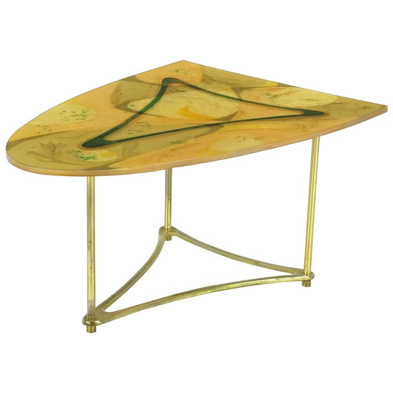 Demi-Ellipse Abstract Cast Resin and Brass Side Table For Sale