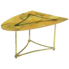 Demi-Ellipse Abstract Cast Resin and Brass Side Table