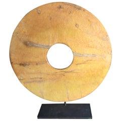 Important Ancient China Jade Bi Disc Unusual Rich Yellow Color, Qijia Culture