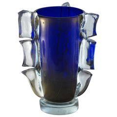 Cobalt and Gold Vase in the Style of 1950s Barovier, Clear Glass Wing Barbarico