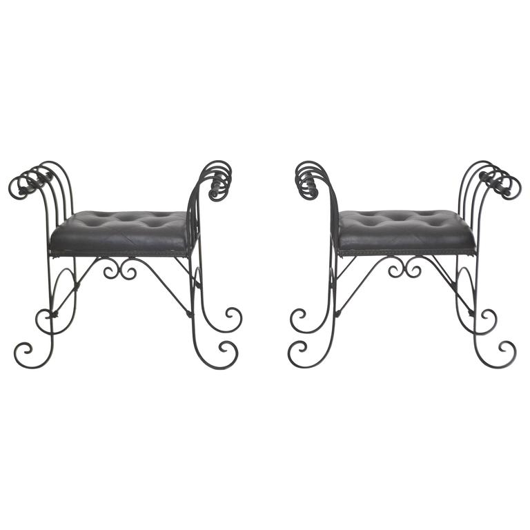 Pair of Mid-Century Wrought Iron Tufted Leather Benches