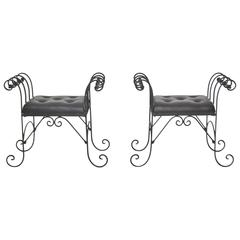 Pair of Midcentury Wrought Iron Tufted Leather Benches