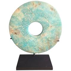 China Ancient Hand-Carved Blue Bi Disc from Qijia Culture, 2000 BC